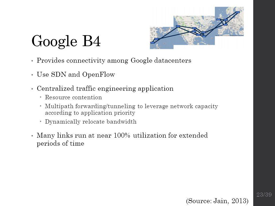 Google B4 Provides connectivity among Google datacenters