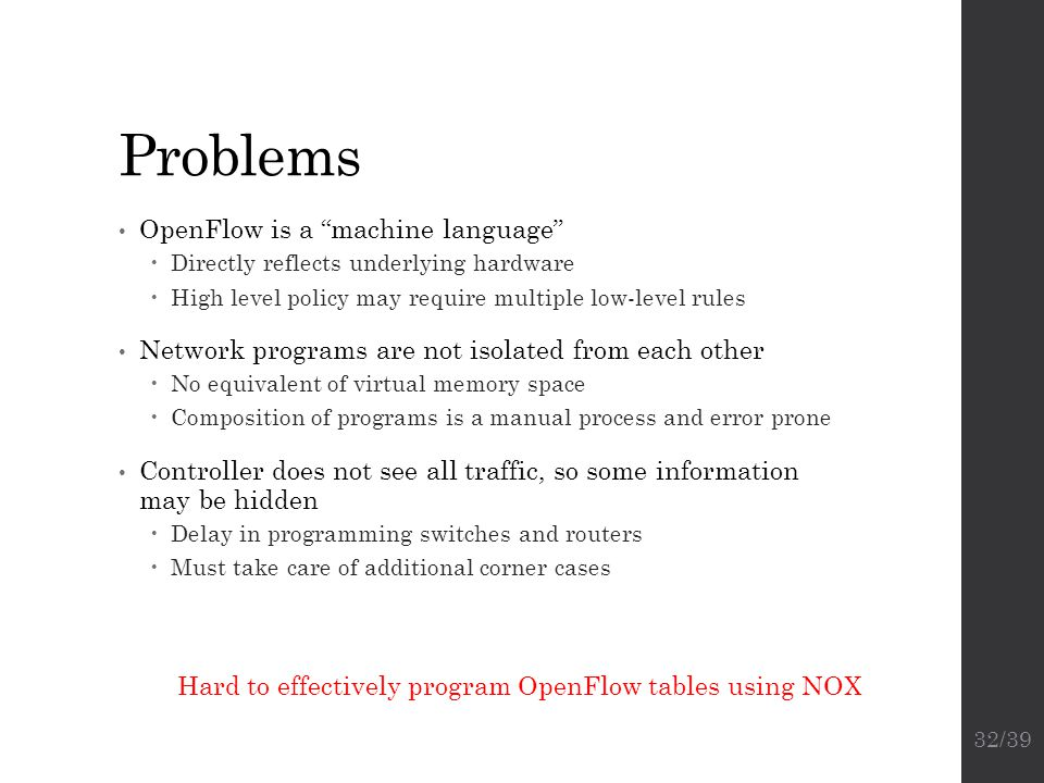Problems OpenFlow is a machine language