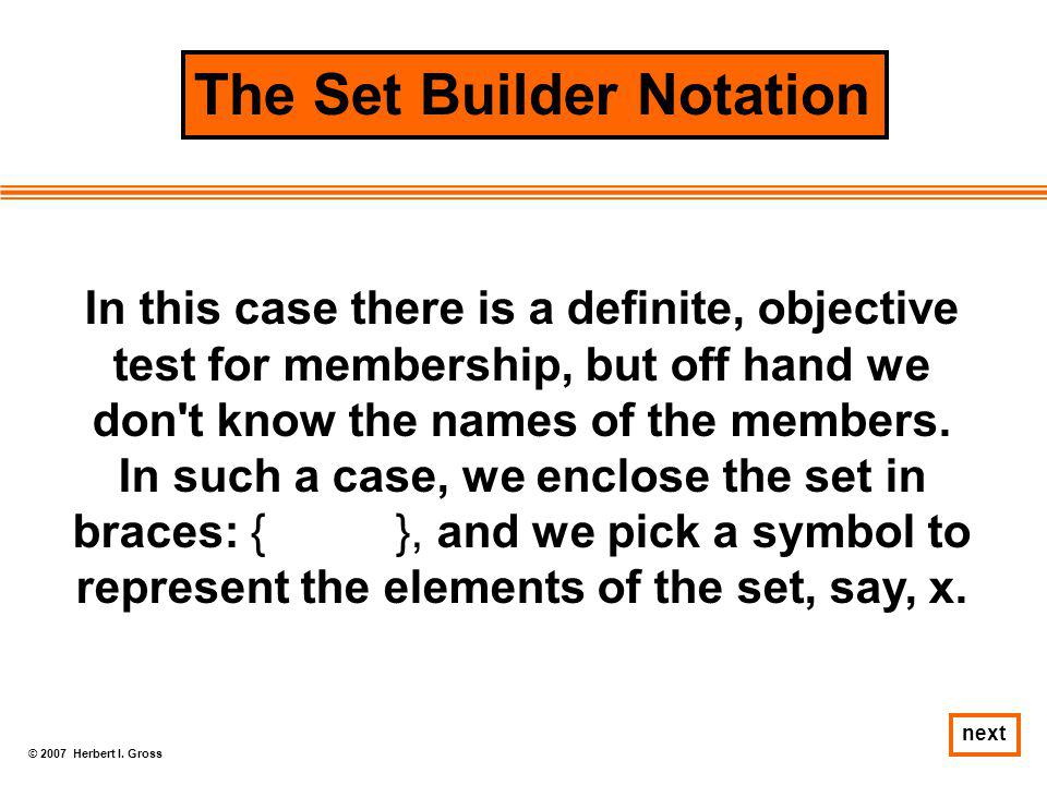 The Set Builder Notation