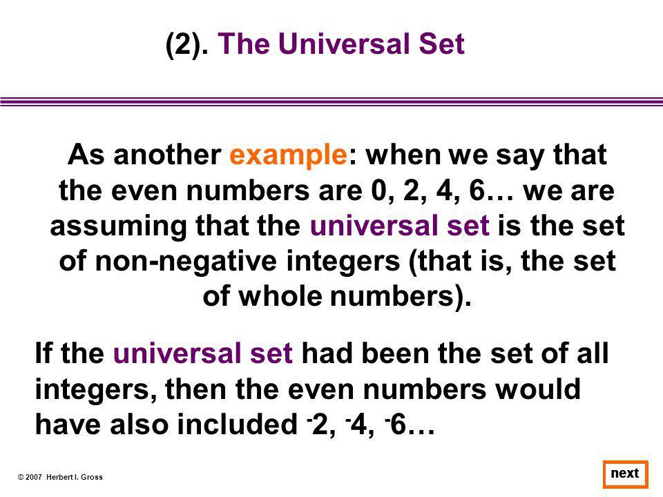 (2). The Universal Set