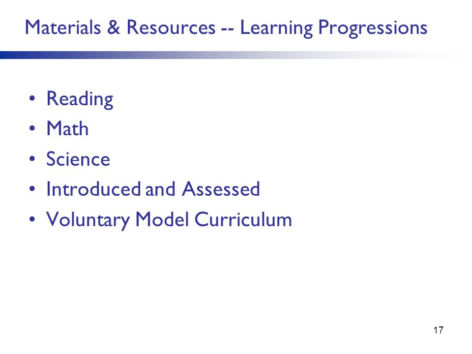 Materials & Resources -- Learning Progressions