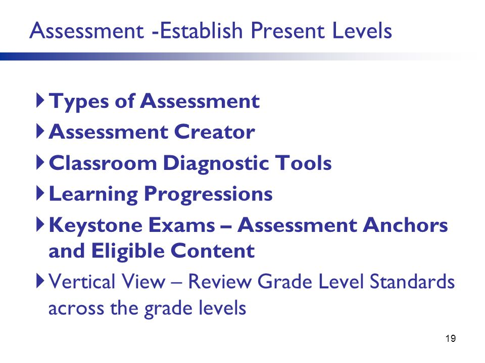 Assessment -Establish Present Levels