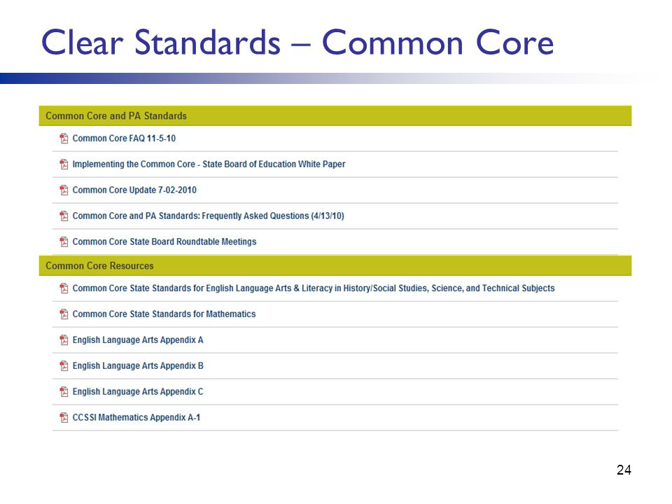 Clear Standards – Common Core
