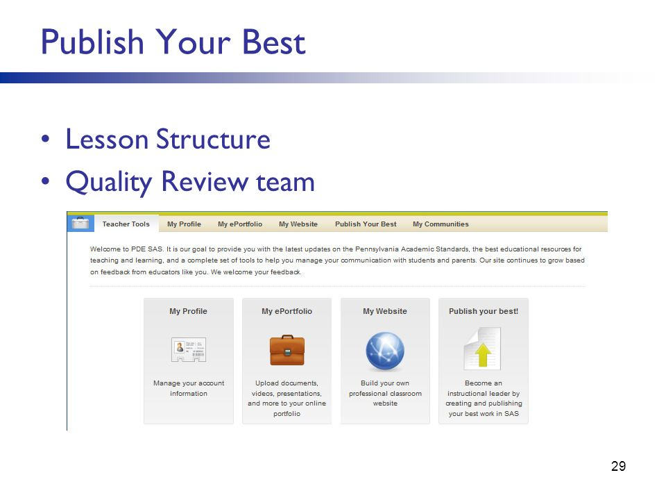 Publish Your Best Lesson Structure Quality Review team