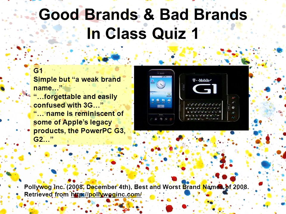 Good Brands & Bad Brands In Class Quiz 1