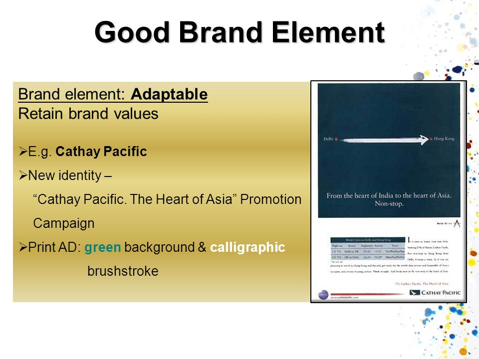 Good Brand Element Brand element: Adaptable Retain brand values