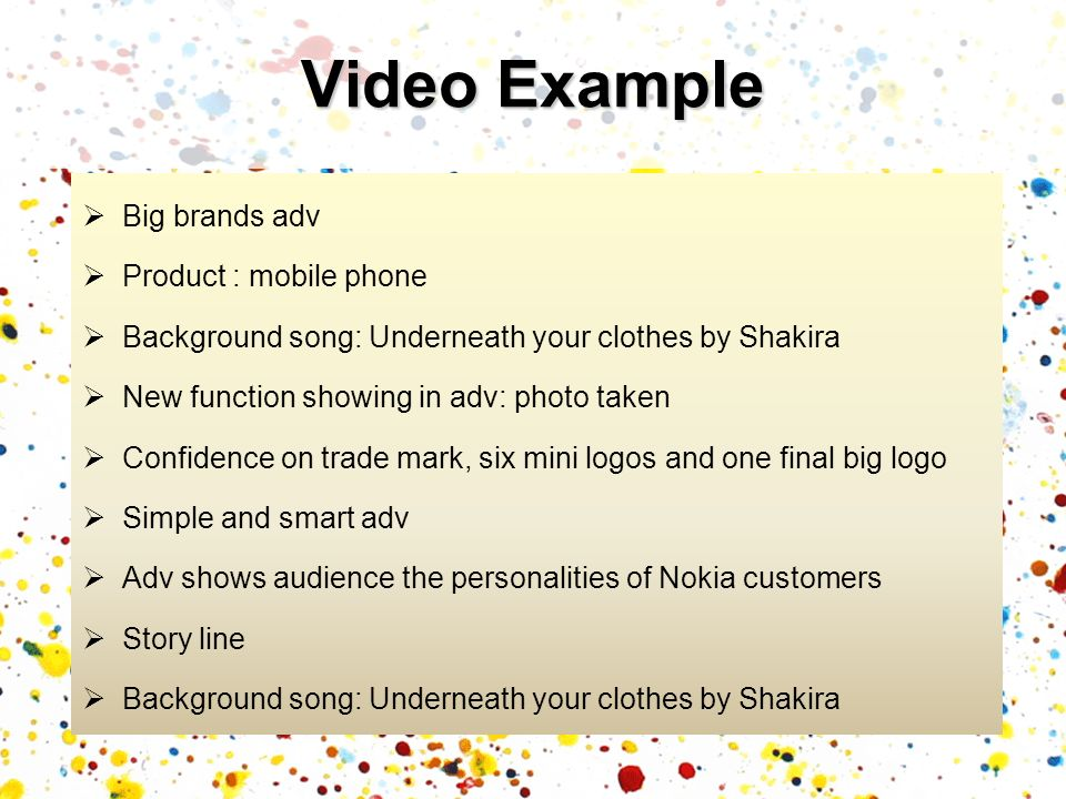 Video Example Big brands adv Product : mobile phone