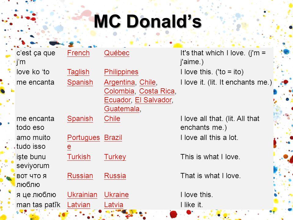 MC Donald's c'est ça que j'm French Québec