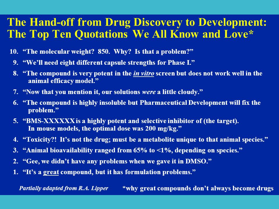 *why great compounds don't always become drugs