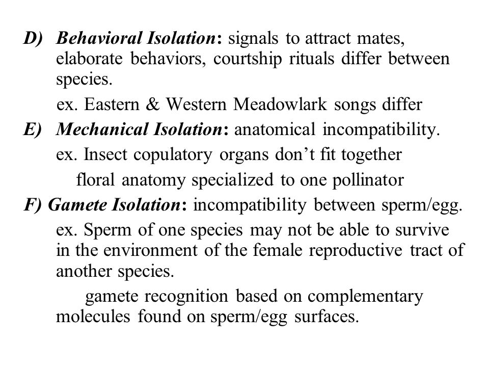 Behavioral Isolation: signals to attract mates, elaborate behaviors, courtship rituals differ between species.