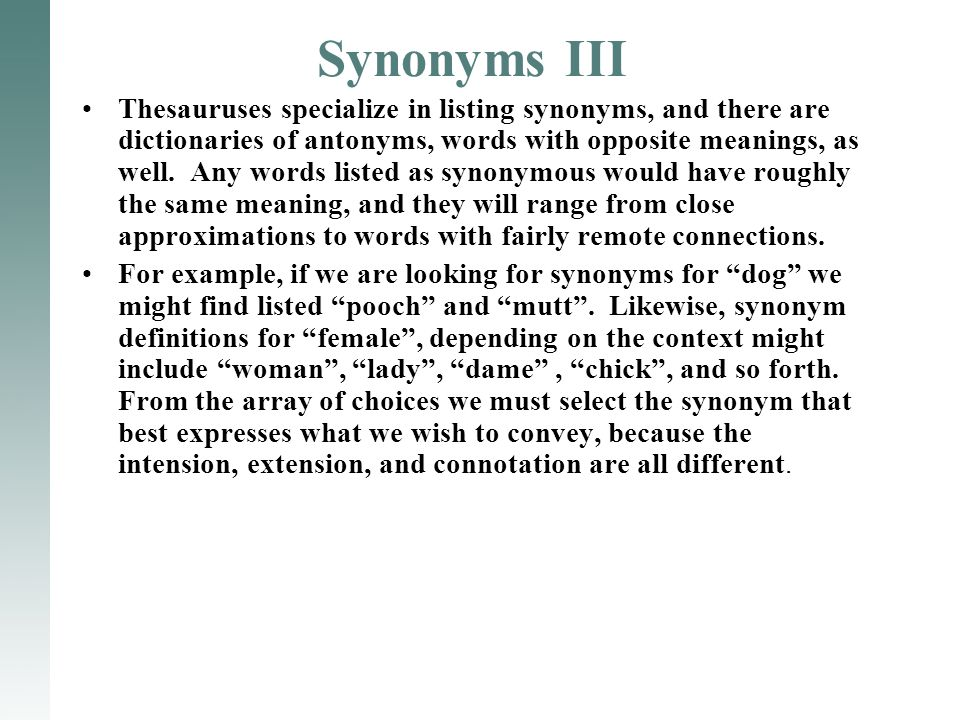 Synonyms III