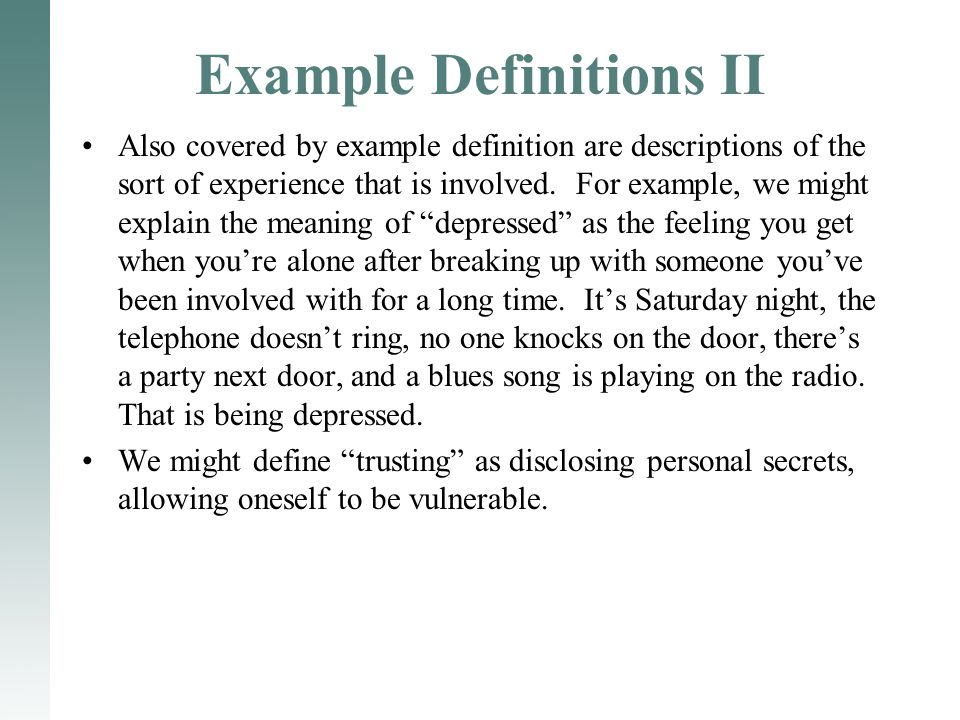 Example Definitions II