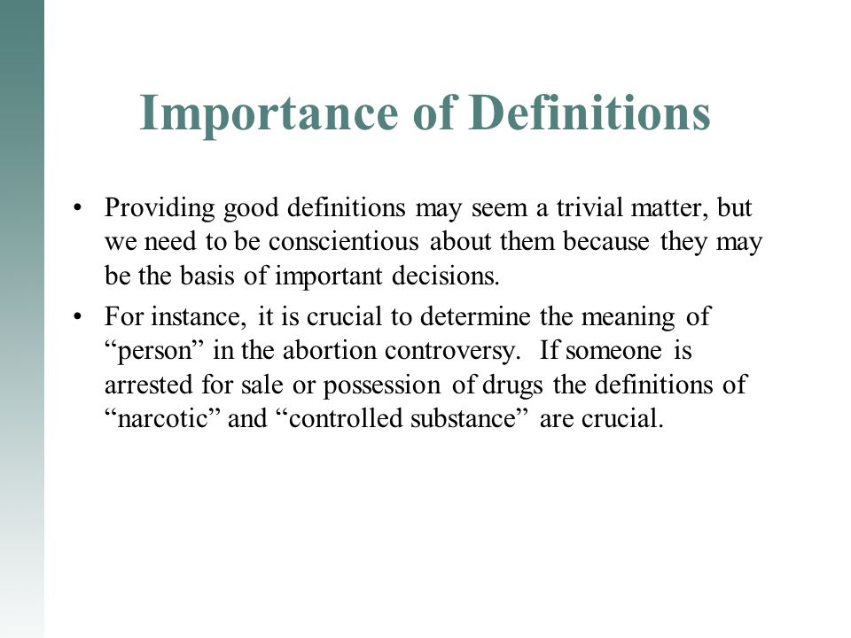 Importance of Definitions