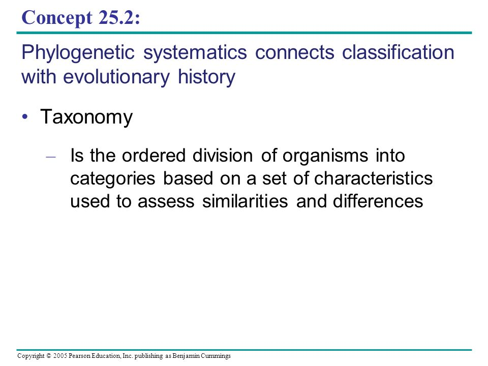 Concept 25.2: Phylogenetic systematics connects classification with evolutionary history. Taxonomy.