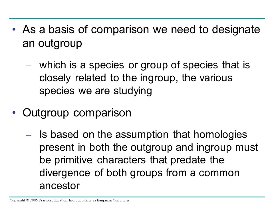 As a basis of comparison we need to designate an outgroup