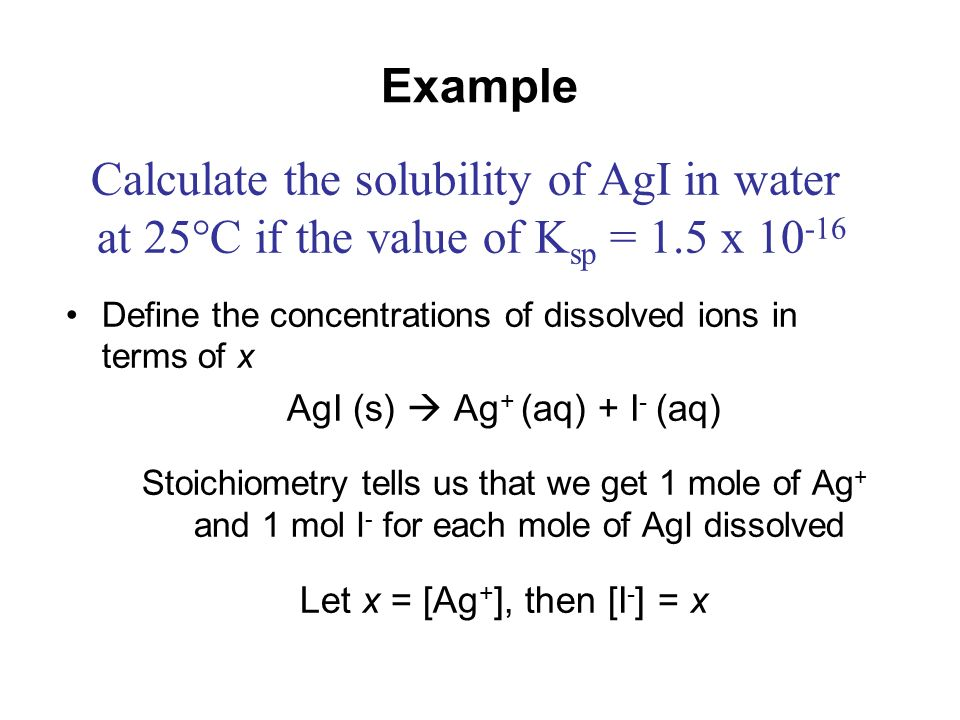 Calculate the solubility of AgI in water
