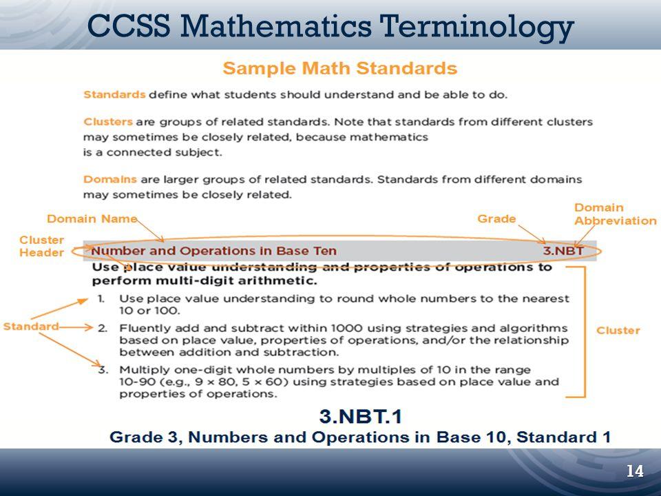 CCSS Mathematics Terminology