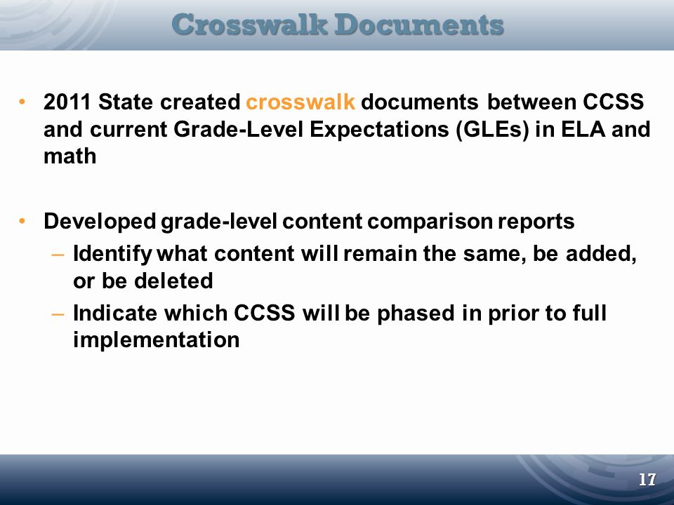 Crosswalk Documents 2011 State created crosswalk documents between CCSS and current Grade-Level Expectations (GLEs) in ELA and math.