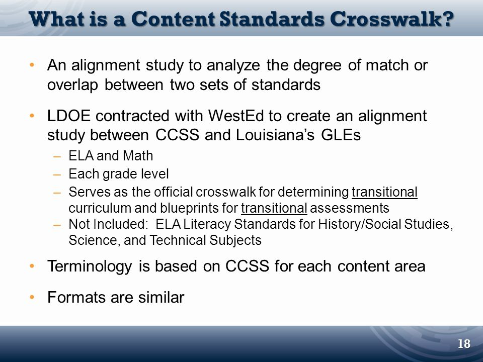 What is a Content Standards Crosswalk
