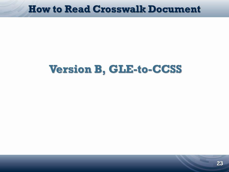 How to Read Crosswalk Document