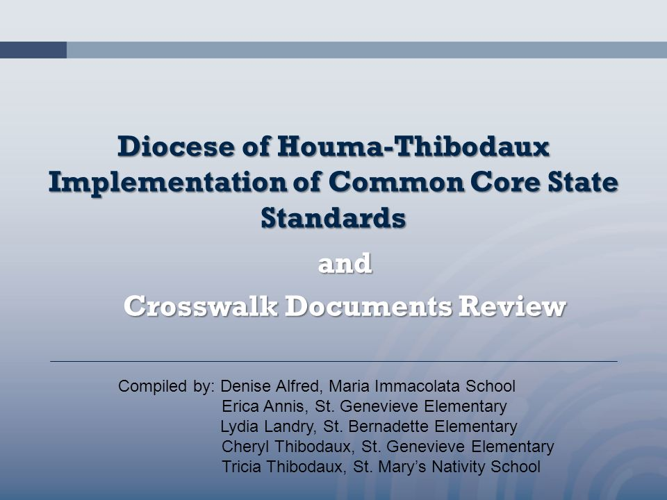and Crosswalk Documents Review