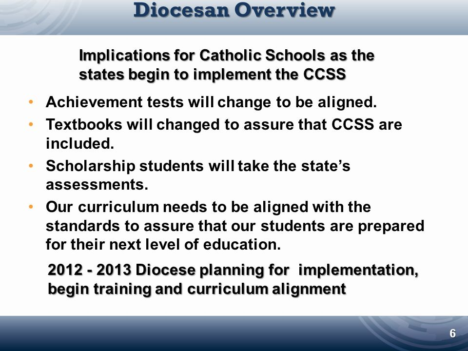 Diocesan Overview Implications for Catholic Schools as the states begin to implement the CCSS. Achievement tests will change to be aligned.