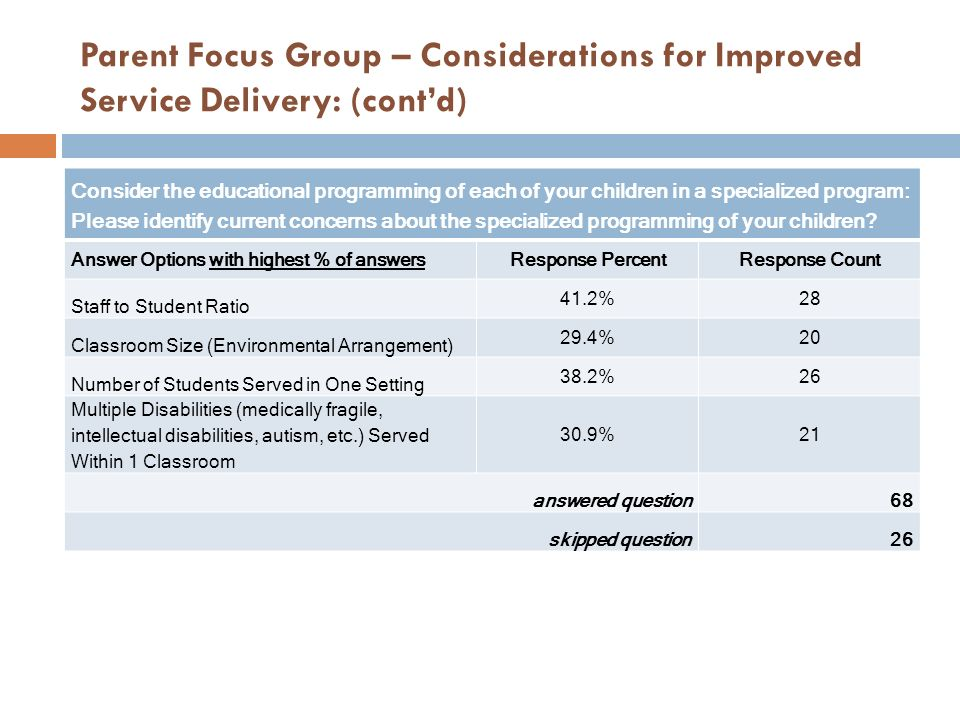 Parent Focus Group – Considerations for Improved Service Delivery: (cont'd)