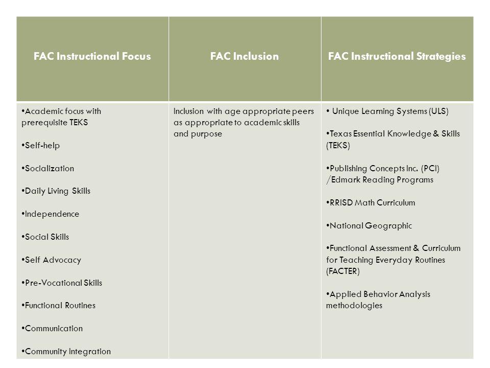 FAC Instructional Focus FAC Instructional Strategies