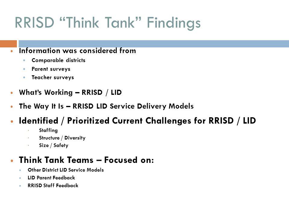 RRISD Think Tank Findings
