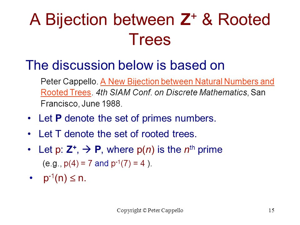 A Bijection between Z+ & Rooted Trees