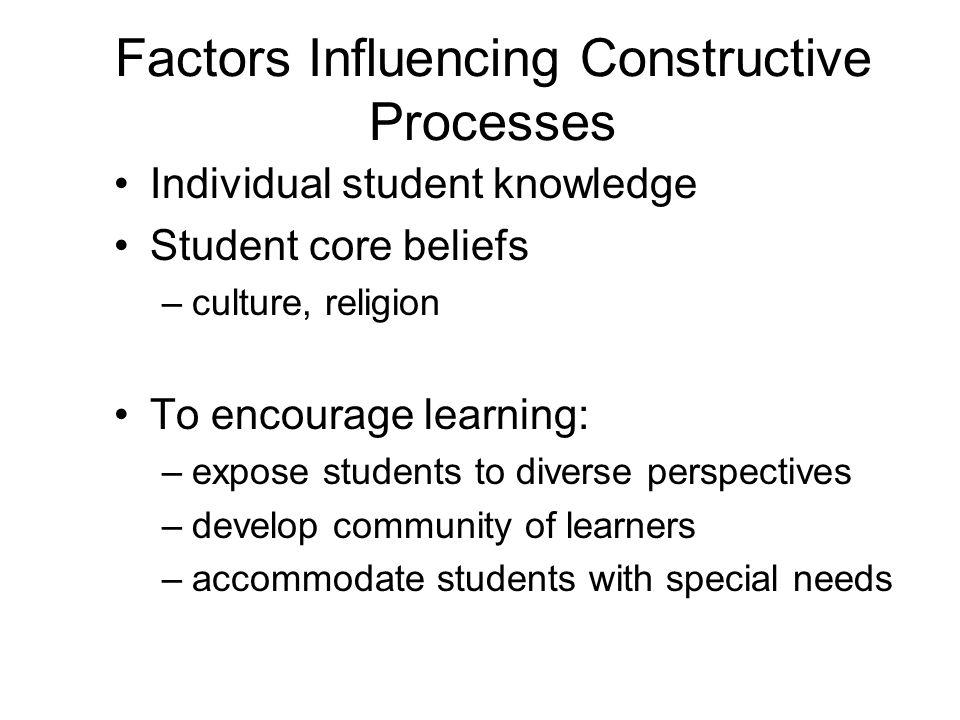 Factors Influencing Constructive Processes