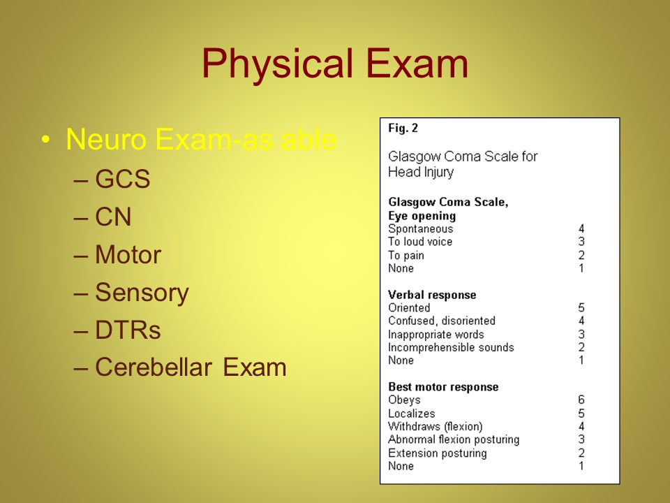 Physical Exam Neuro Exam-as able GCS CN Motor Sensory DTRs