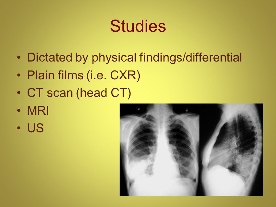 Studies Dictated by physical findings/differential