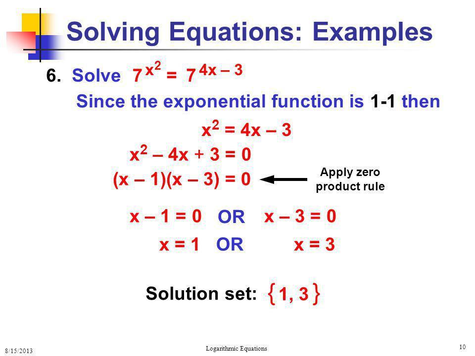 Solving Equations: Examples