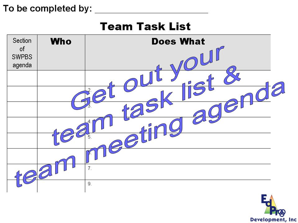 Get out your team task list & team meeting agenda