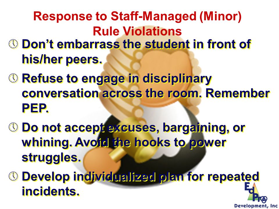 Response to Staff-Managed (Minor) Rule Violations