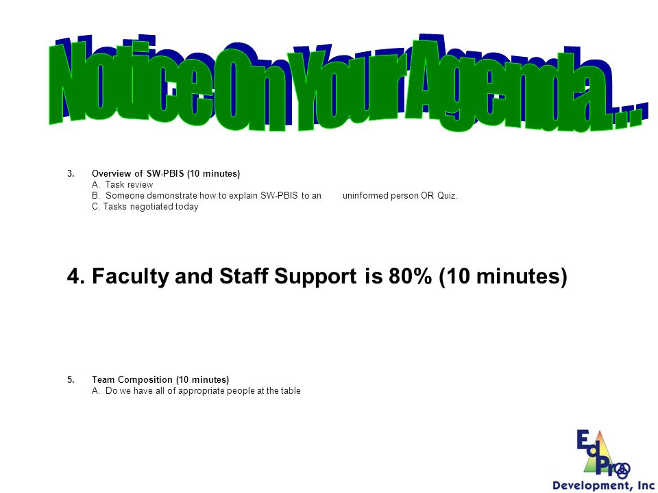 Notice On Your Agenda… Faculty and Staff Support is 80% (10 minutes)
