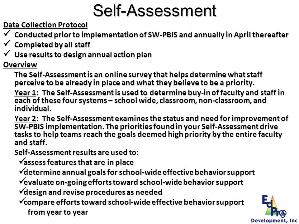 Self-Assessment Data Collection Protocol
