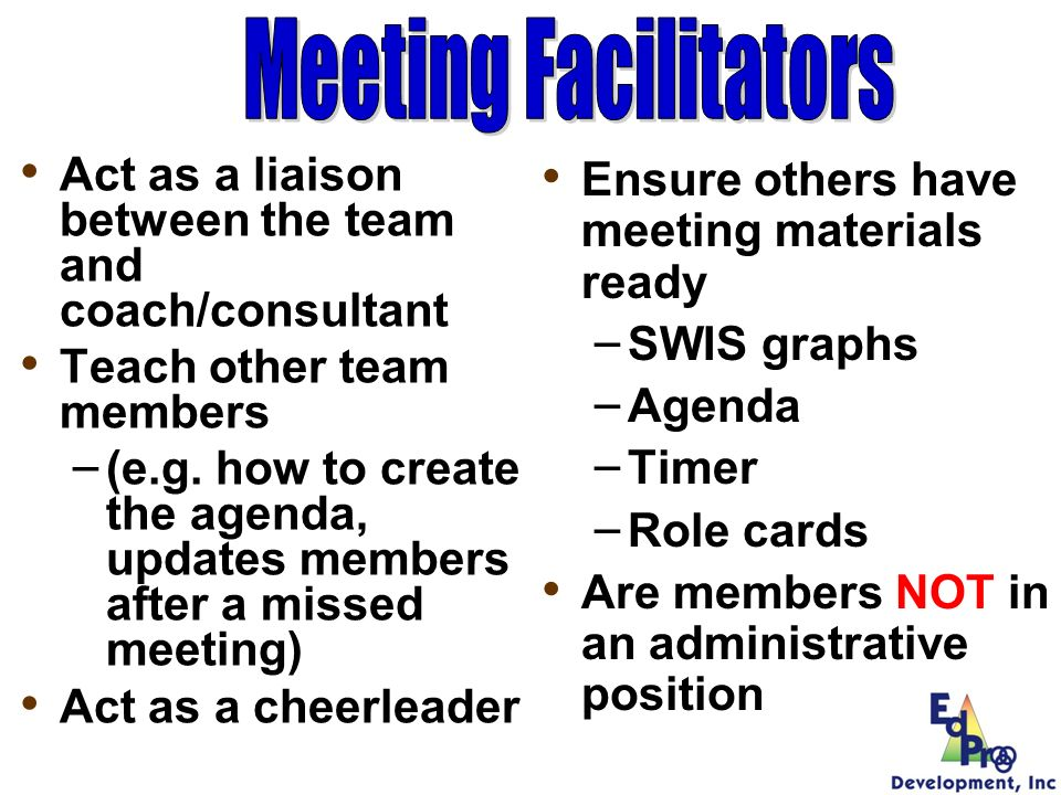 Meeting Facilitators Act as a liaison between the team and coach/consultant. Teach other team members.