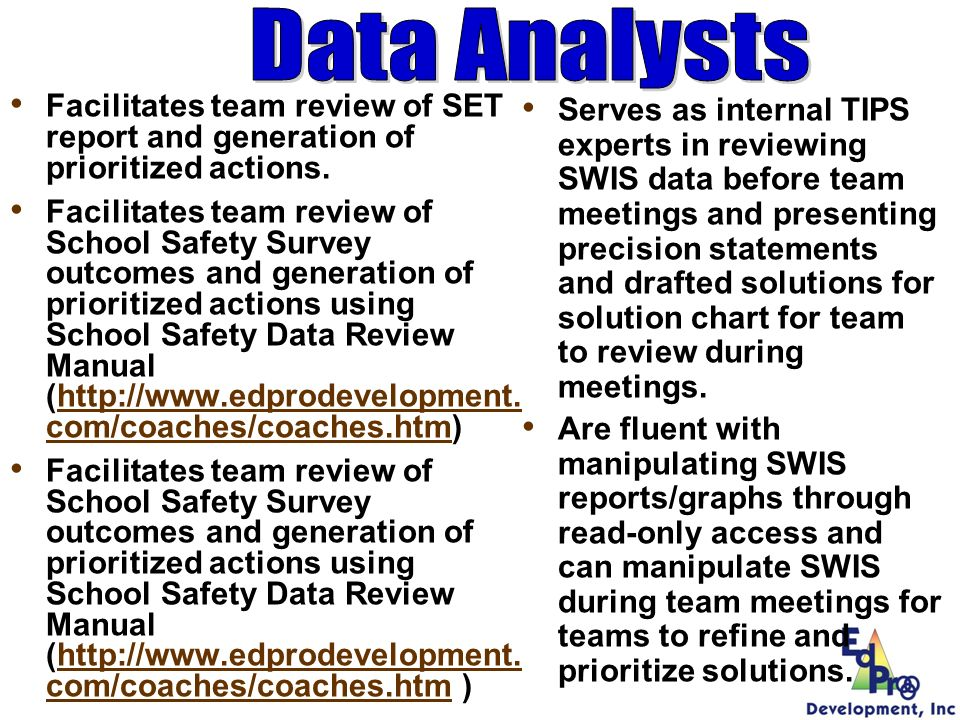 Data Analysts Facilitates team review of SET report and generation of prioritized actions.
