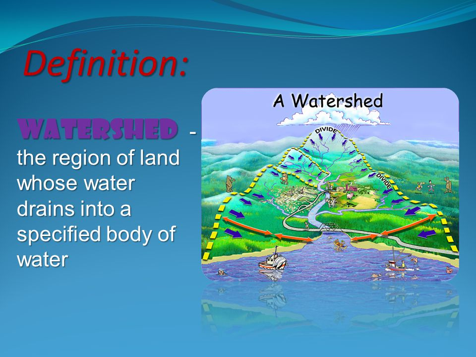 Definition: watershed - the region of land whose water drains into a specified body of water