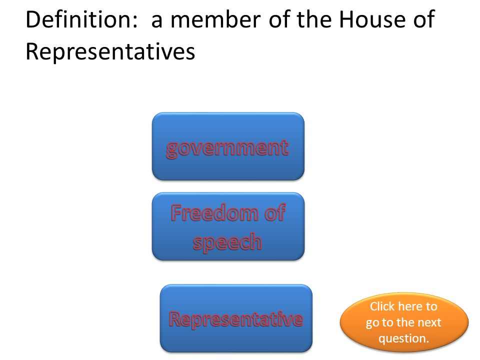 Definition: a member of the House of Representatives