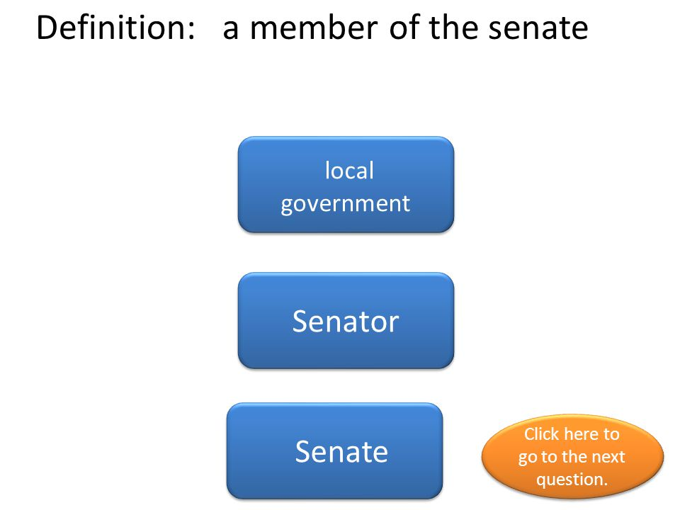 Definition: a member of the senate