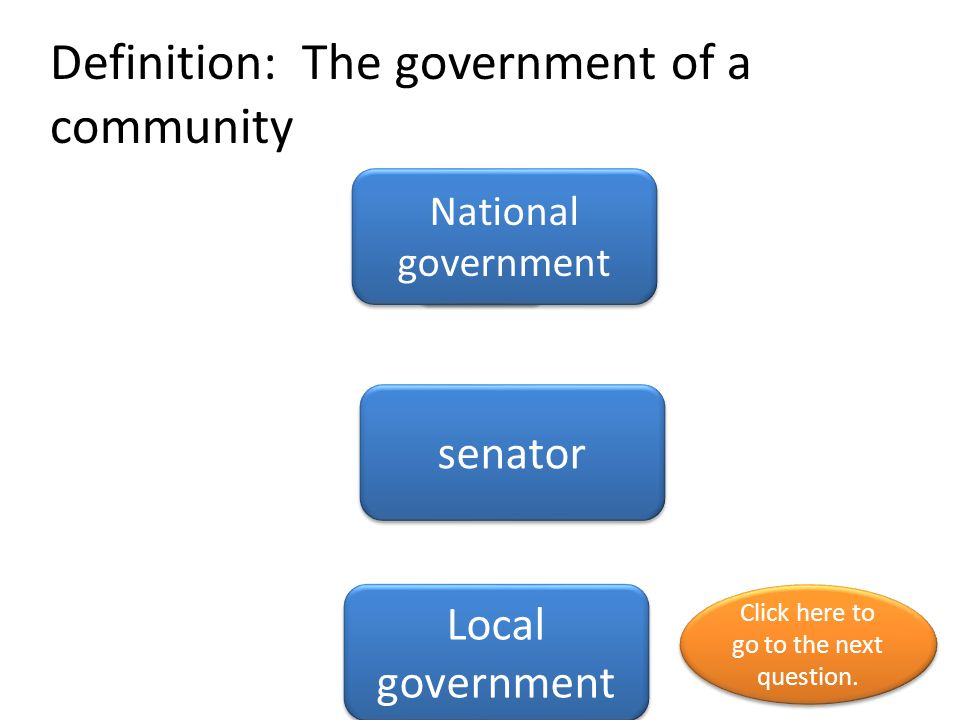 Definition: The government of a community