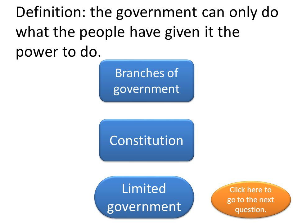 Definition: the government can only do what the people have given it the power to do.