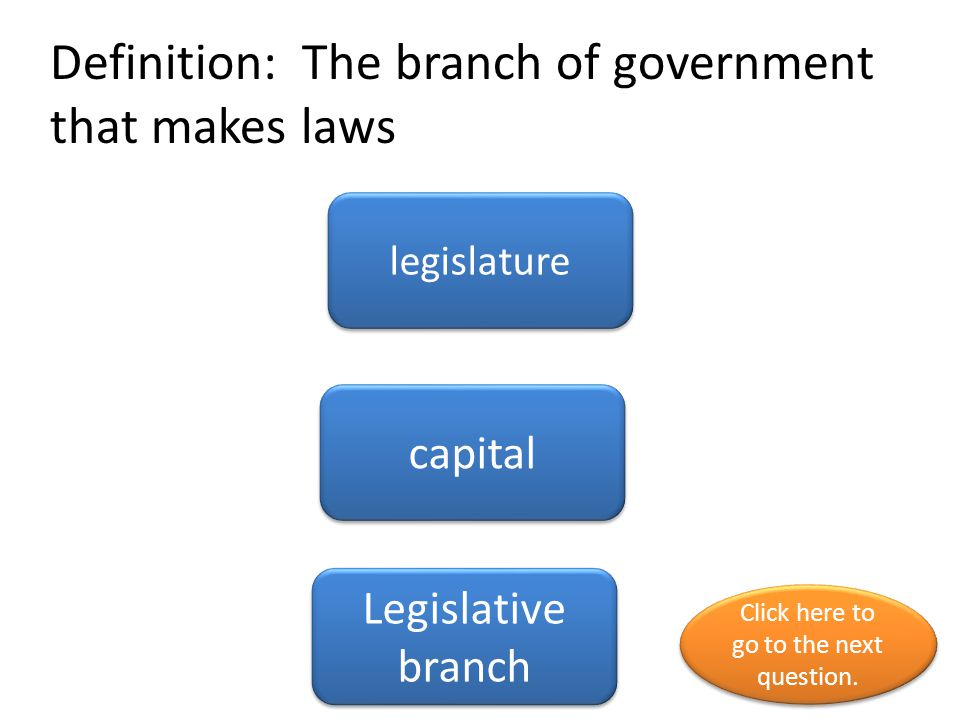Definition: The branch of government that makes laws