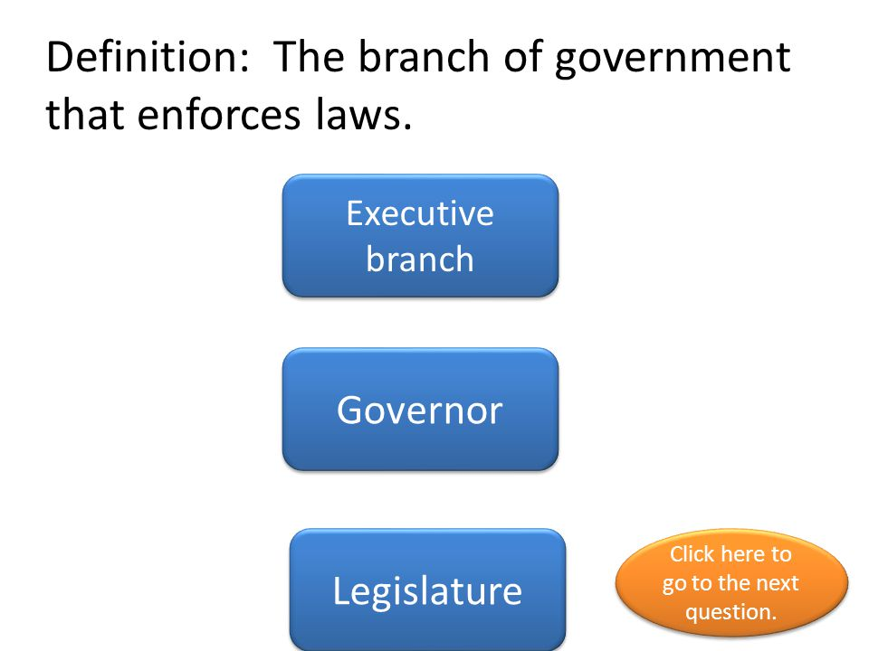 Definition: The branch of government that enforces laws.
