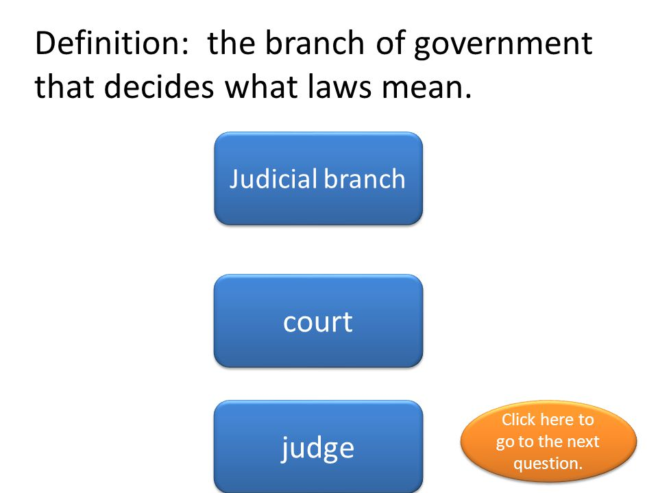 Definition: the branch of government that decides what laws mean.