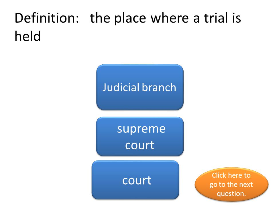 Definition: the place where a trial is held