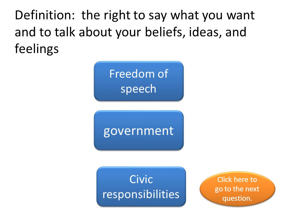 Definition: the right to say what you want and to talk about your beliefs, ideas, and feelings